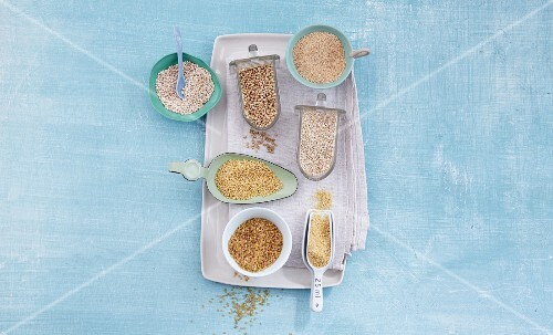Various types of grains and cereal products