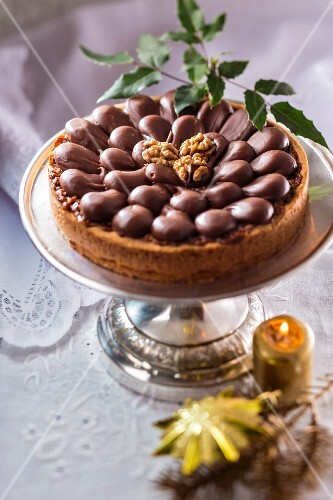 Christmas chocolate and walnut cake from Poland