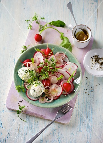 Radish salad with ricotta and herb dumplings