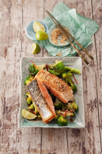 Sesame seed salmon with oriental broccoli, chilli and lime