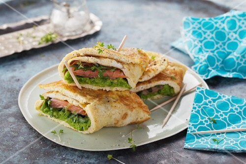 Omelette wraps filled with mushy peas, cream cheese and smoked salmon