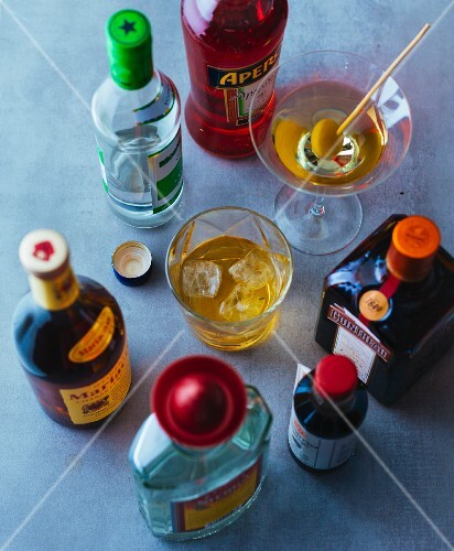 Various spirits and liqueurs from a house bar