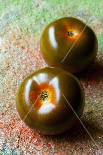Two black tomatoes from Sicily