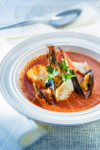 Seafood soup with prawns