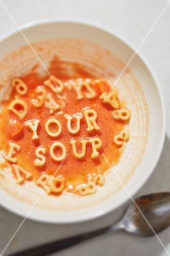 Tomato soup with alphabet pasta