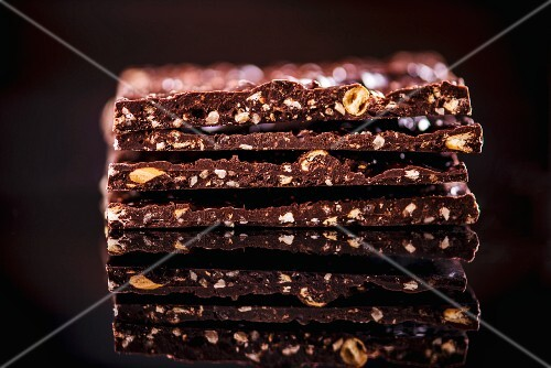 A stack of chocolate and hazelnut slices
