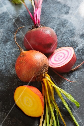 Golden beets and chioggia beets