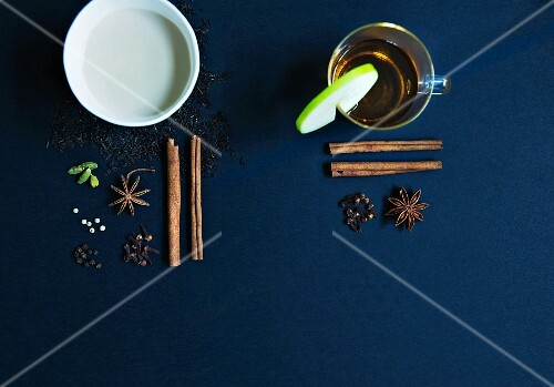 Chai tea and apple mulled wine with spices
