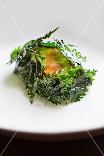 Bass with fried stinging nettles