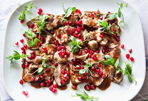 Lamb fillet with pomegranate seeds