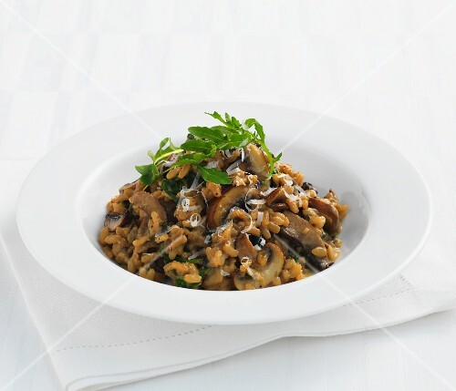 Mushroom risotto with rocket