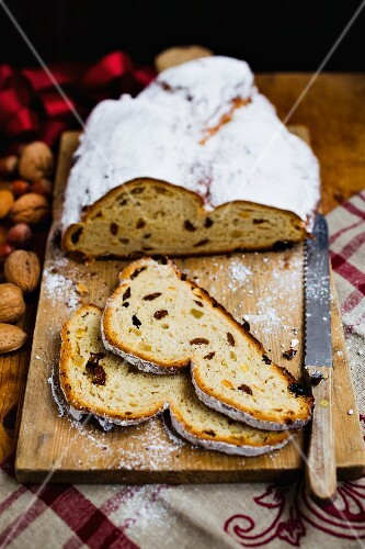 Sliced stollen on a wooden board