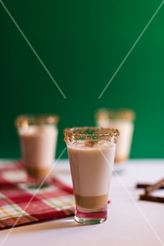 Glasses of cinnamon drink (Christmas)