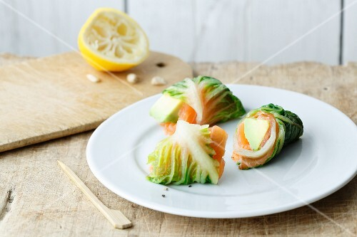 Cos lettuce rolls with avocado and salmon