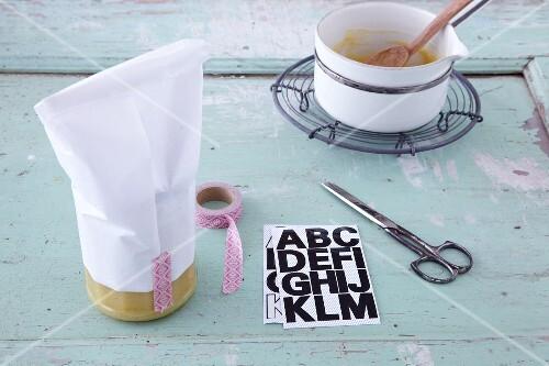 Gift wrap for homemade lemon curd being made