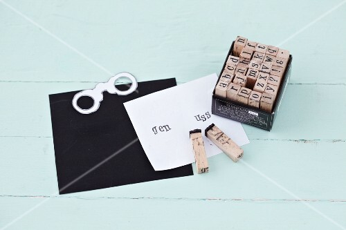Nostalgic letter stamps for printing onto paper