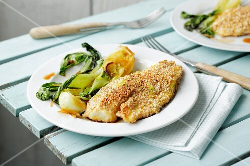 Sharks fillets in a sesame seed coating with bok choy