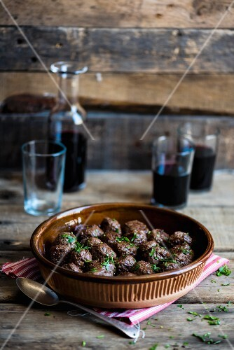 Meatballs and red wine