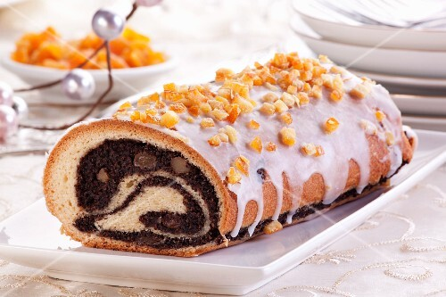 Christmas poppyseed strudel with an orange crust