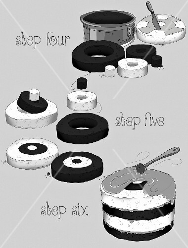 Preparation steps for a chessboard cake