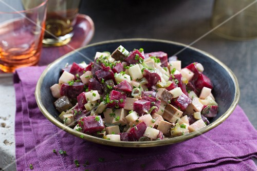 A winter beetroot salad with apples and vegan mayonnaise