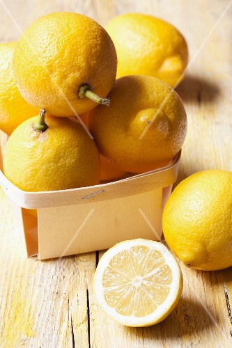 Lemons in a wooden basket