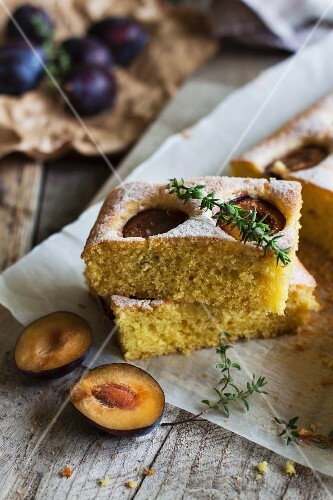 Plum cake with fresh thyme
