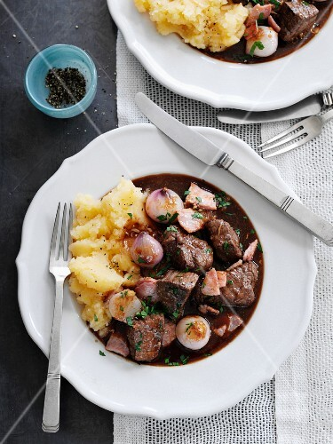 Boeuf Bourguignon with mashed potatoes (France)