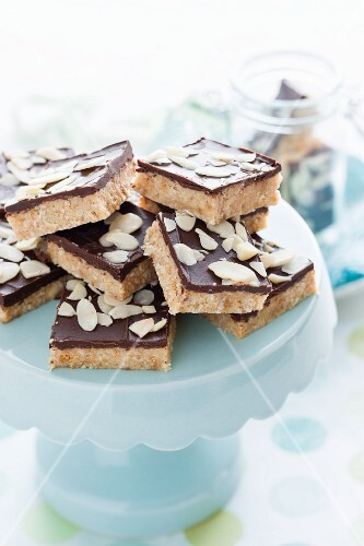 Almond and chocolate slices with flaked almonds