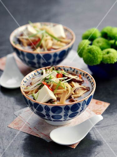 Noodle soup with shiitake mushrooms, chilli and tofu (Asia)