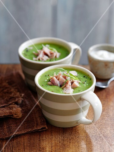 Cream of pea soup with ham