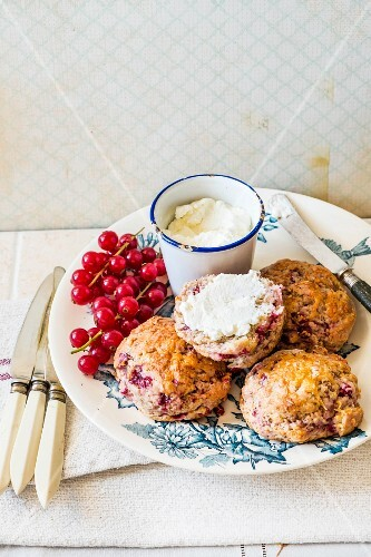 Herb scones with redcurrants and cream cheese