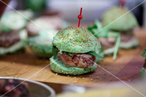 A mini green party burger with steak tartar