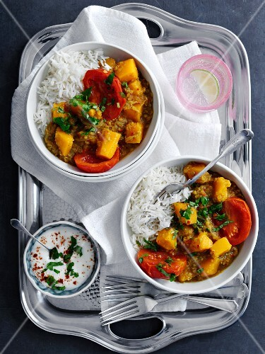 Pumpkin and tomato curry with rice