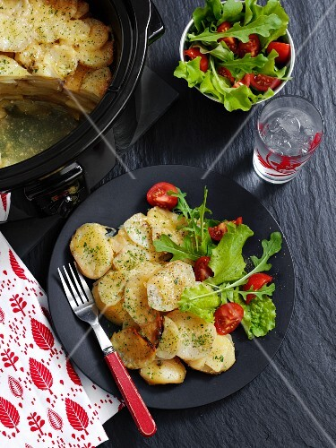 Potato and shallot bake with salad