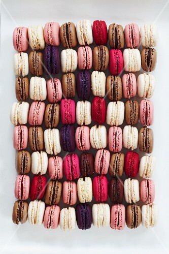 A rectangle of colourful macaroons