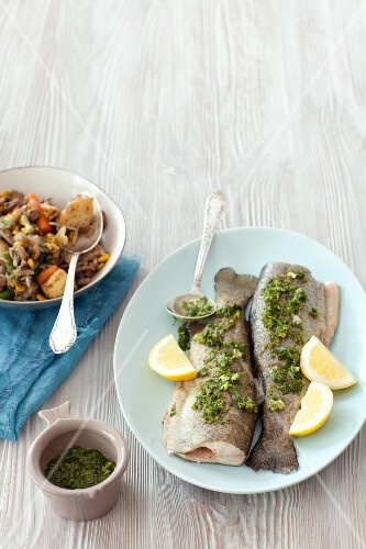 Baked trout with parsley and lemon gremolata and vegetables