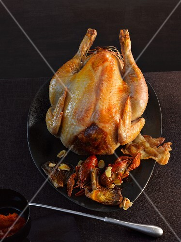 Capon with bacon and crayfish