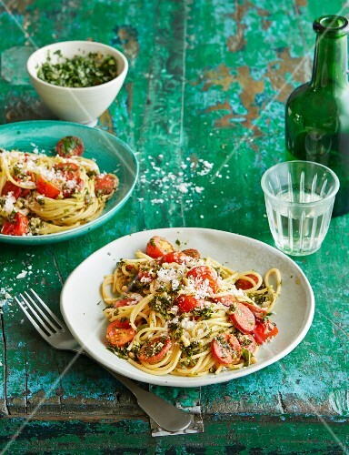 Spaghettini with green kale pesto and chorizo