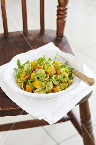 Orecchiette pasta with sweet potatoes, rocket and pesto