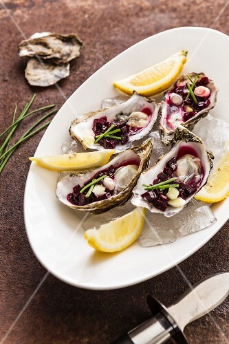 Oysters with beetroot salsa and lemon