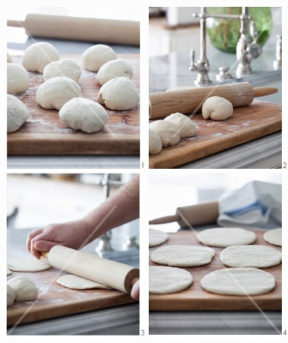 Pita bread being made