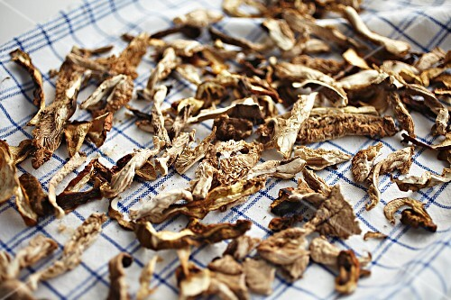 Dried mushrooms on a tea towel
