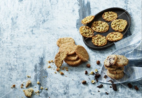 Oat biscuits, hazelnut macaroons and chocolate cookies