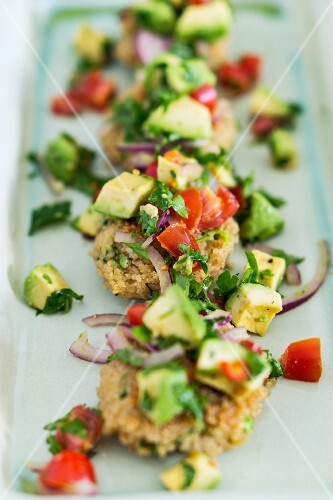 Quinoa cakes with avocado salsa