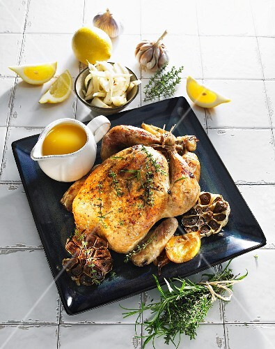 Roast chicken with garlic and lemon
