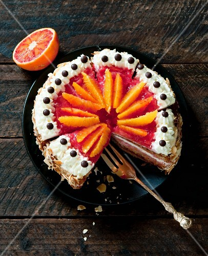 Blood orange cake, sliced