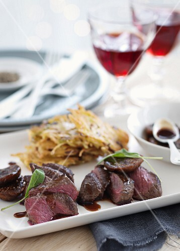 Venison fillet with potato fritters