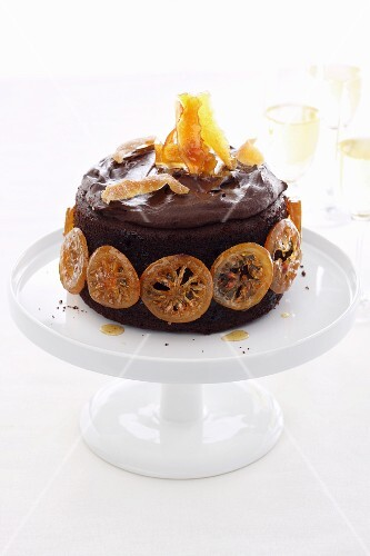 A chocolate cake with candied fruits