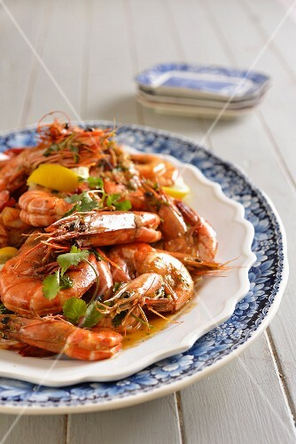 Peri-peri king prawns in a beer sauce (Portugal)